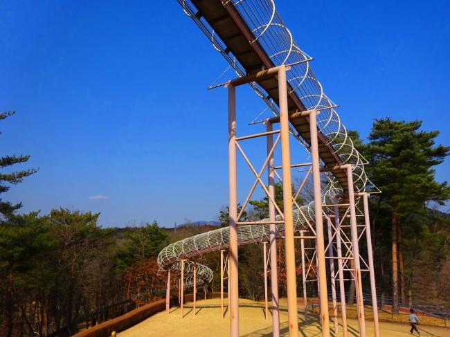 笠間芸術の森公園 森の中を走るロングすべり台の様子