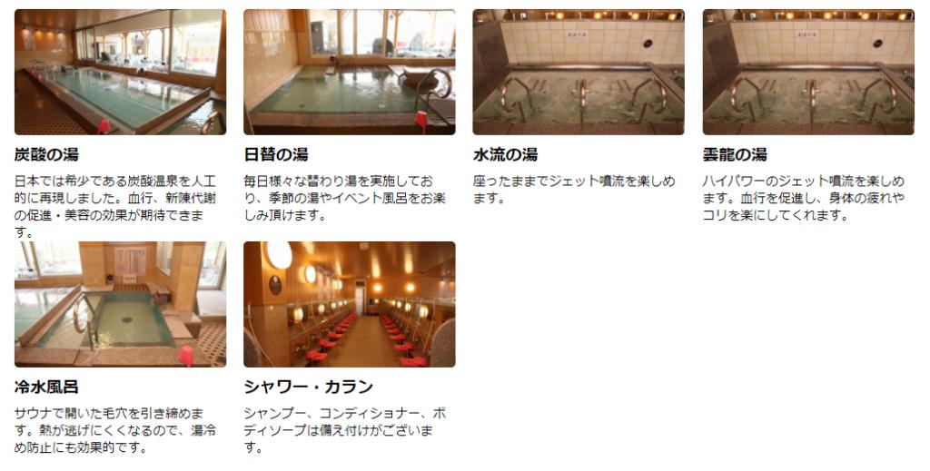 極楽湯 水戸 お風呂の種類