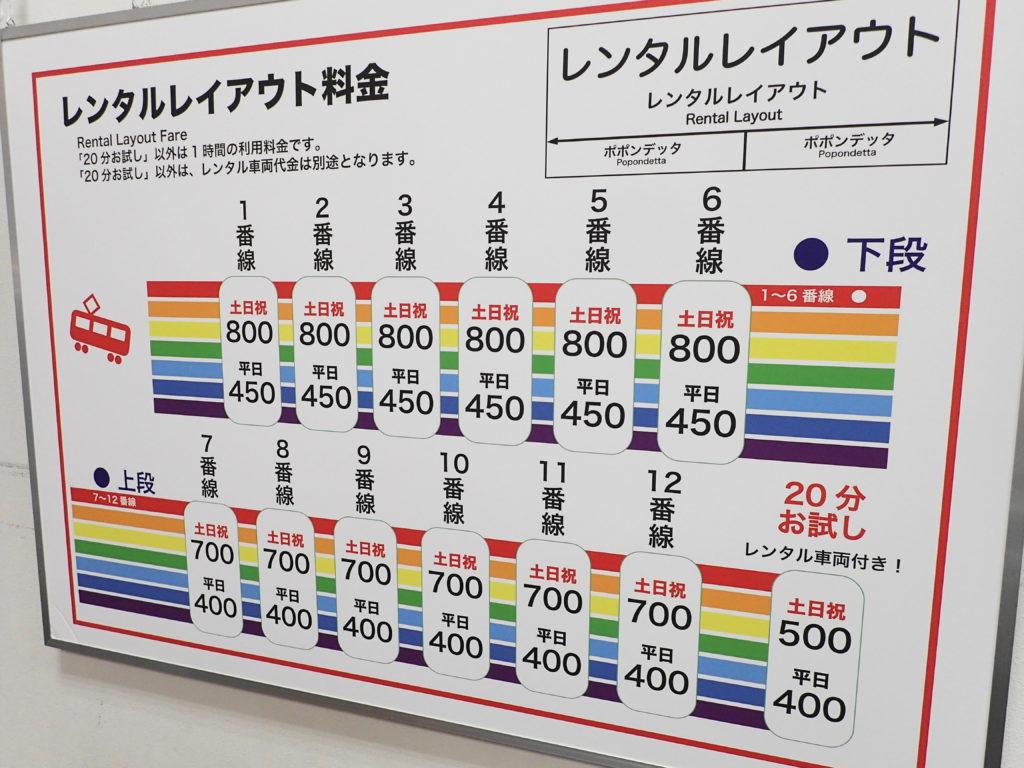 レンタルレイアウトの料金表