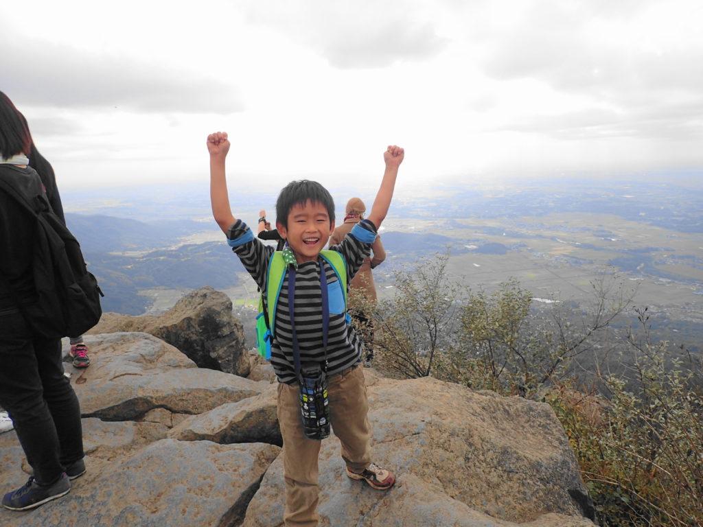 筑波山 子ども登山 登頂に成功