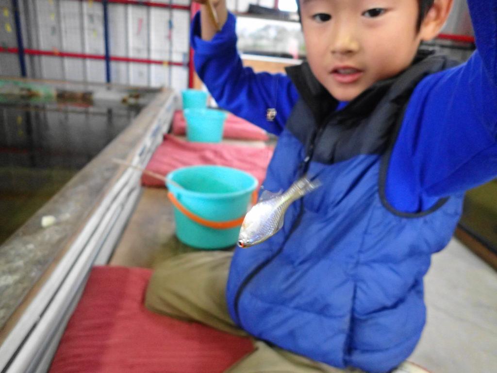 釣り堀でタナゴを釣る子ども