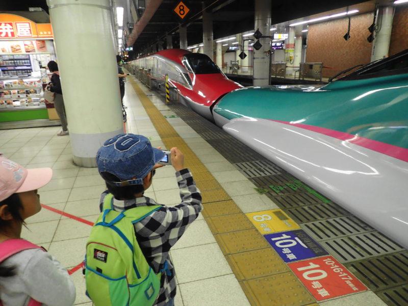 上野駅で子どもと新幹線を見学 写真を撮る息子
