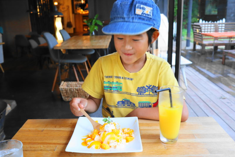 咲くカフェ 大子 のアイスを食べる息子