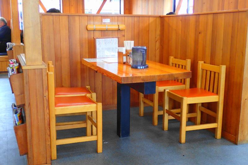 めんかくぼう のテーブル席
