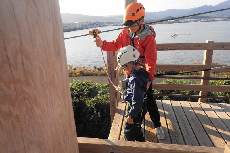 琵琶湖アスレチック のジップライン