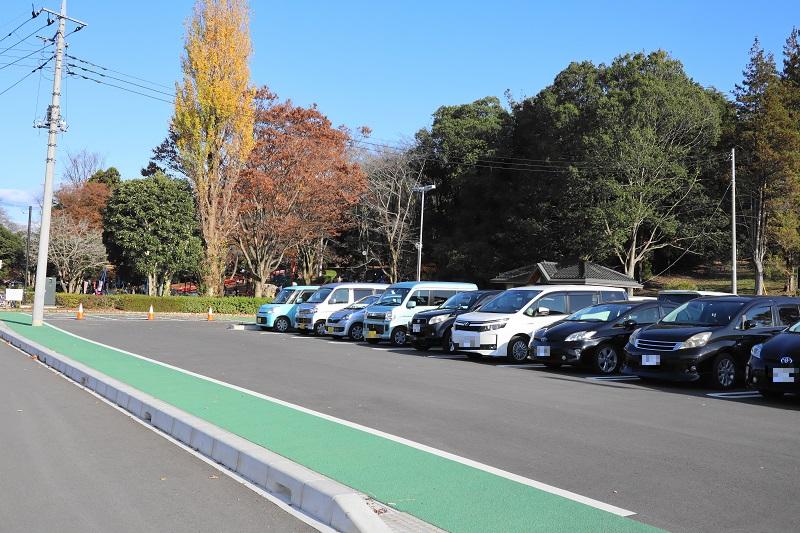 新しく整備された「千波公園少年の森 」の駐車場