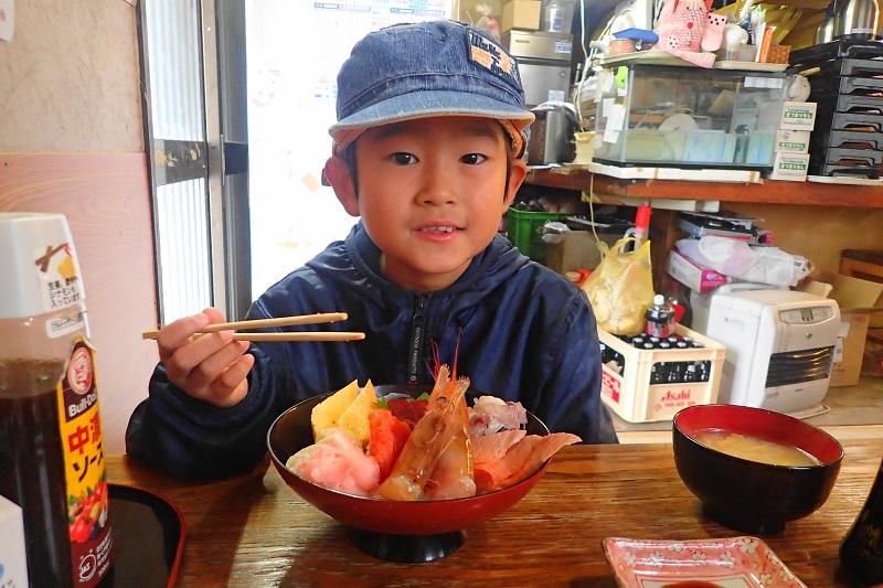海鮮丼と息子